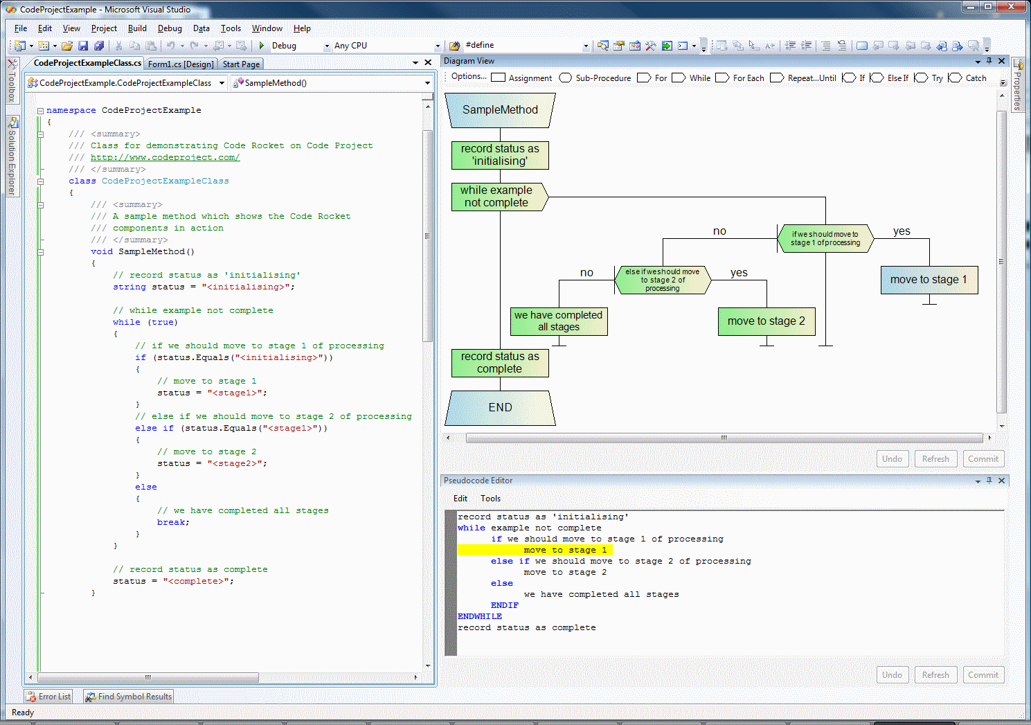 using code rocket to design and implement a binary search
